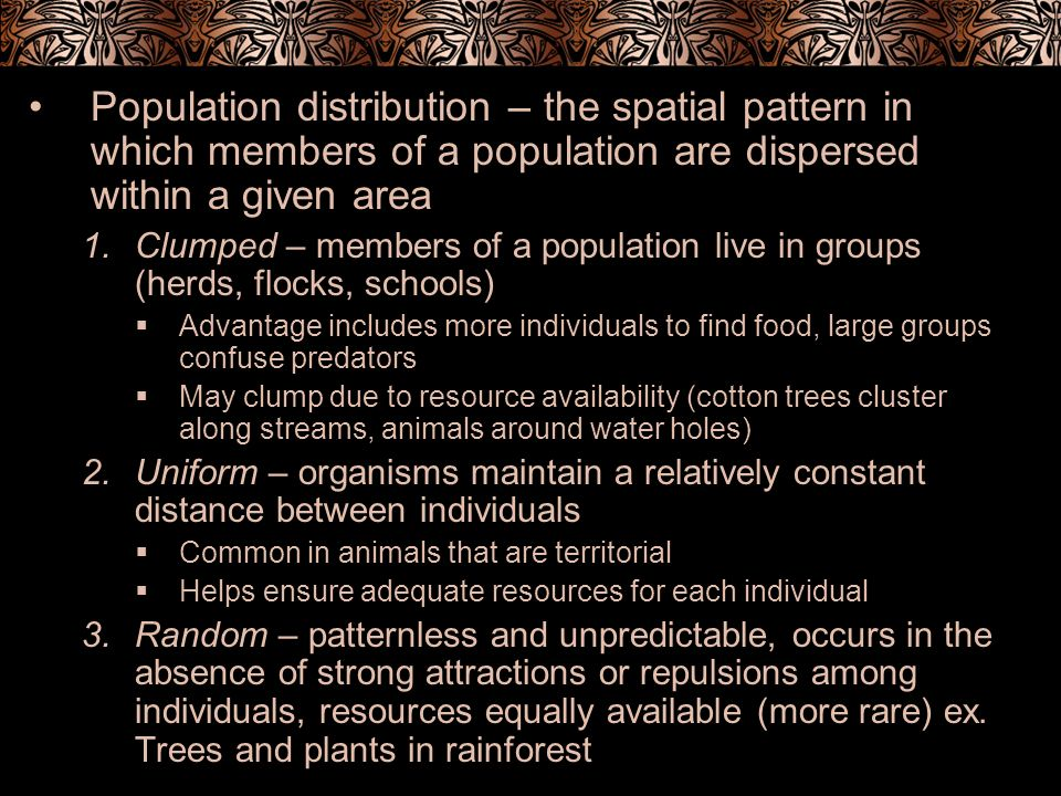 Population distribution – the spatial pattern in which members of a population are dispersed within a given area 1.Clumped – members of a population l