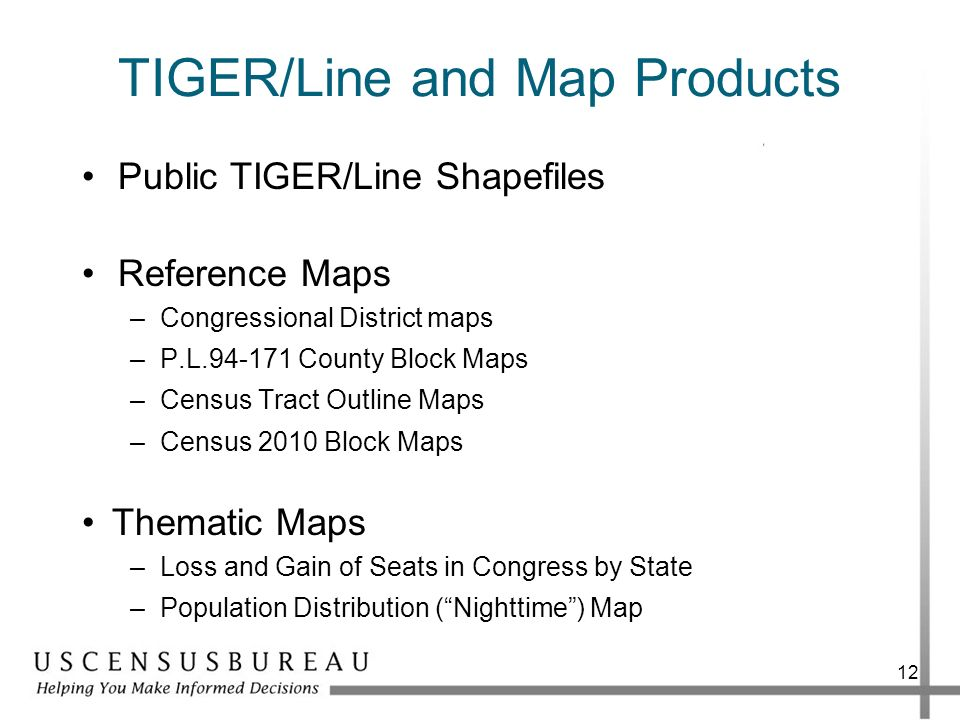 TIGER/Line and Map Products Public TIGER/Line Shapefiles Reference Maps –Congressional District maps –P.L.94-171 County Block Maps –Census Tract Outli