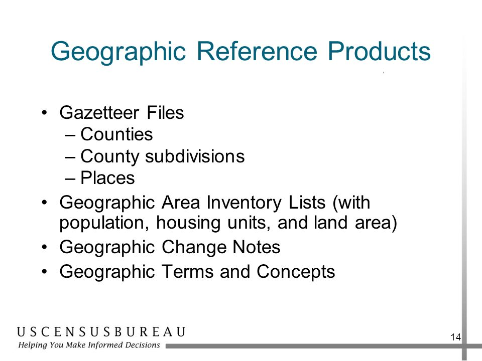 Geographic Reference Products Gazetteer Files –Counties –County subdivisions –Places Geographic Area Inventory Lists (with population, housing units,