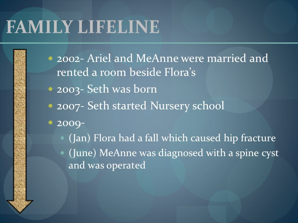 FAMILY LIFELINE 2002- Ariel and MeAnne were married and rented a room beside Floras 2003- Seth was born 2007- Seth started Nursery school 2009- (Jan)