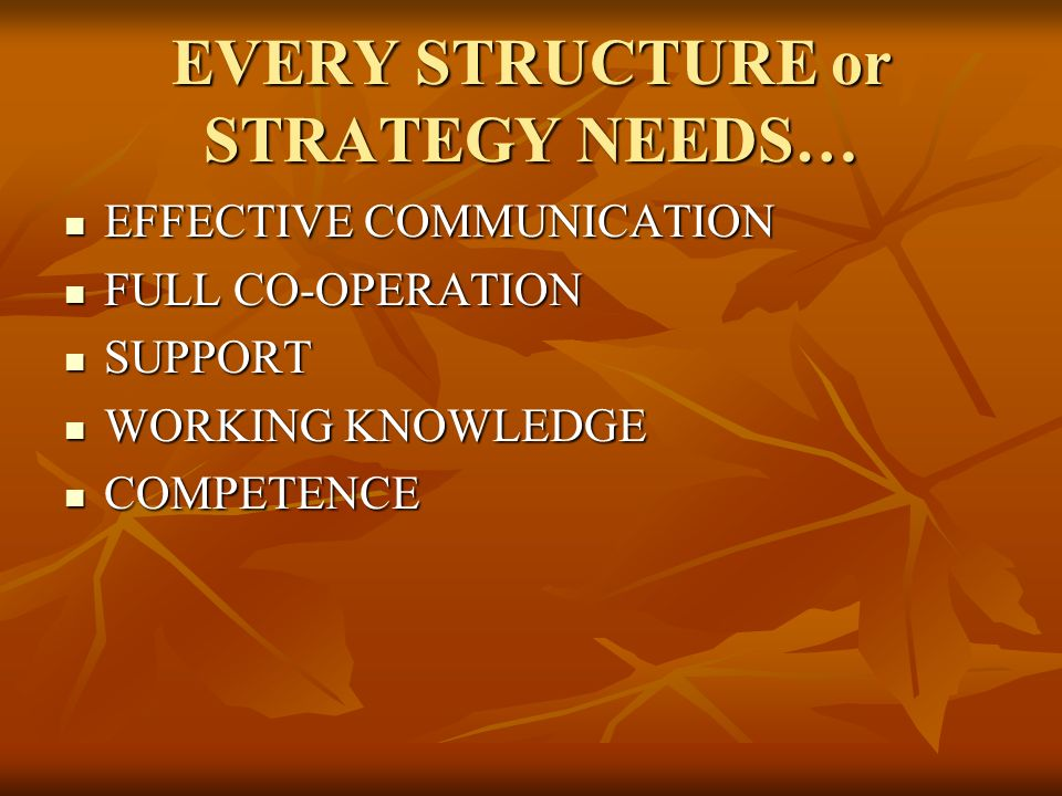 EVERY STRUCTURE or STRATEGY NEEDS… EFFECTIVE COMMUNICATION EFFECTIVE COMMUNICATION FULL CO-OPERATION FULL CO-OPERATION SUPPORT SUPPORT WORKING KNOWLED