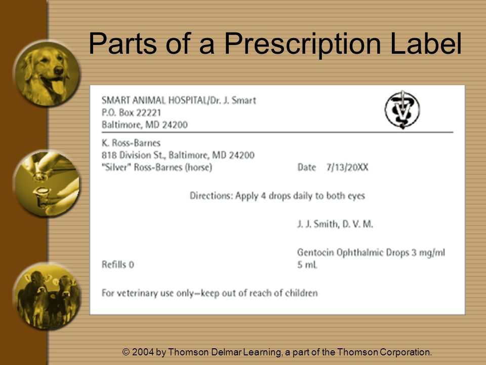© 2004 by Thomson Delmar Learning, a part of the Thomson Corporation. Parts of a Prescription Label