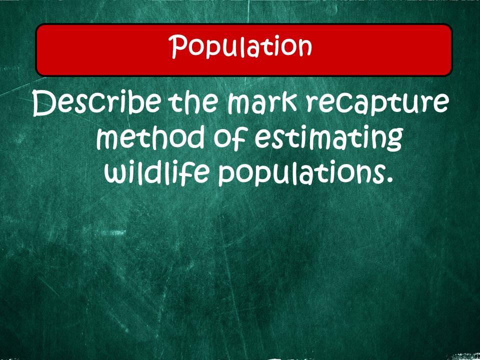 Describe the mark recapture method of estimating wildlife populations. Population