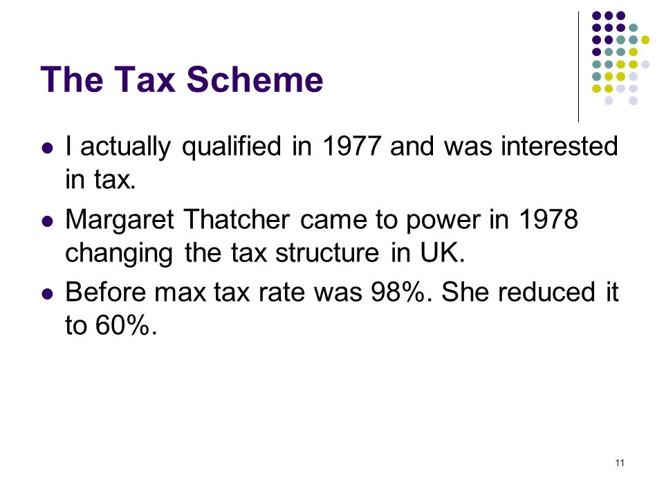 11 The Tax Scheme I actually qualified in 1977 and was interested in tax.