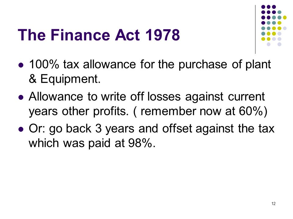 12 The Finance Act % tax allowance for the purchase of plant & Equipment.