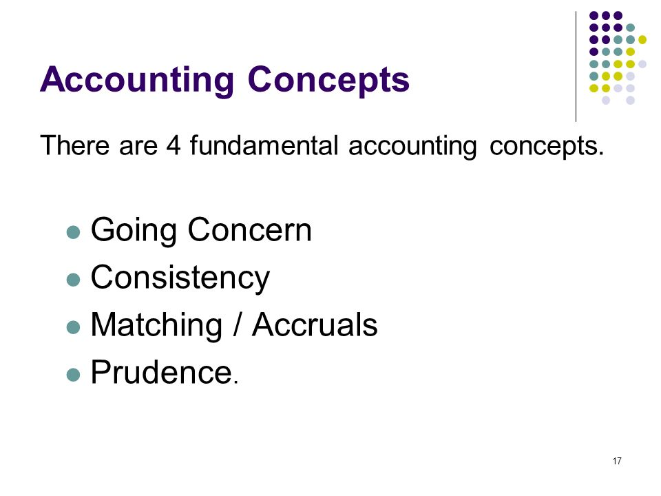 17 Accounting Concepts There are 4 fundamental accounting concepts.