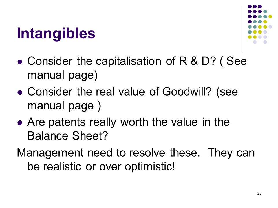 23 Intangibles Consider the capitalisation of R & D.