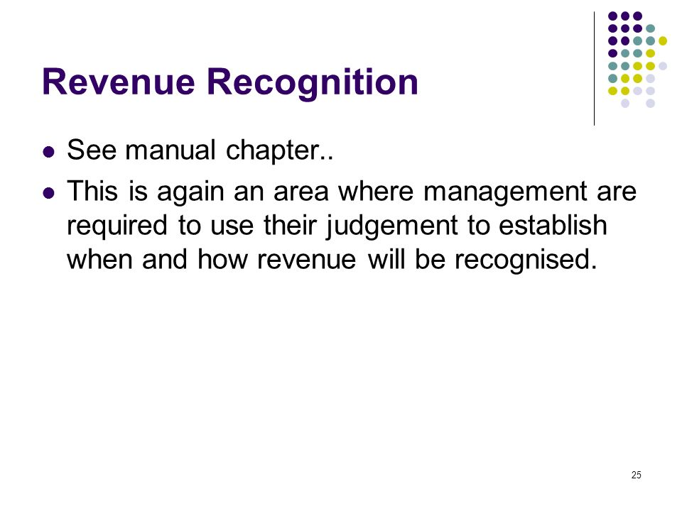25 Revenue Recognition See manual chapter..