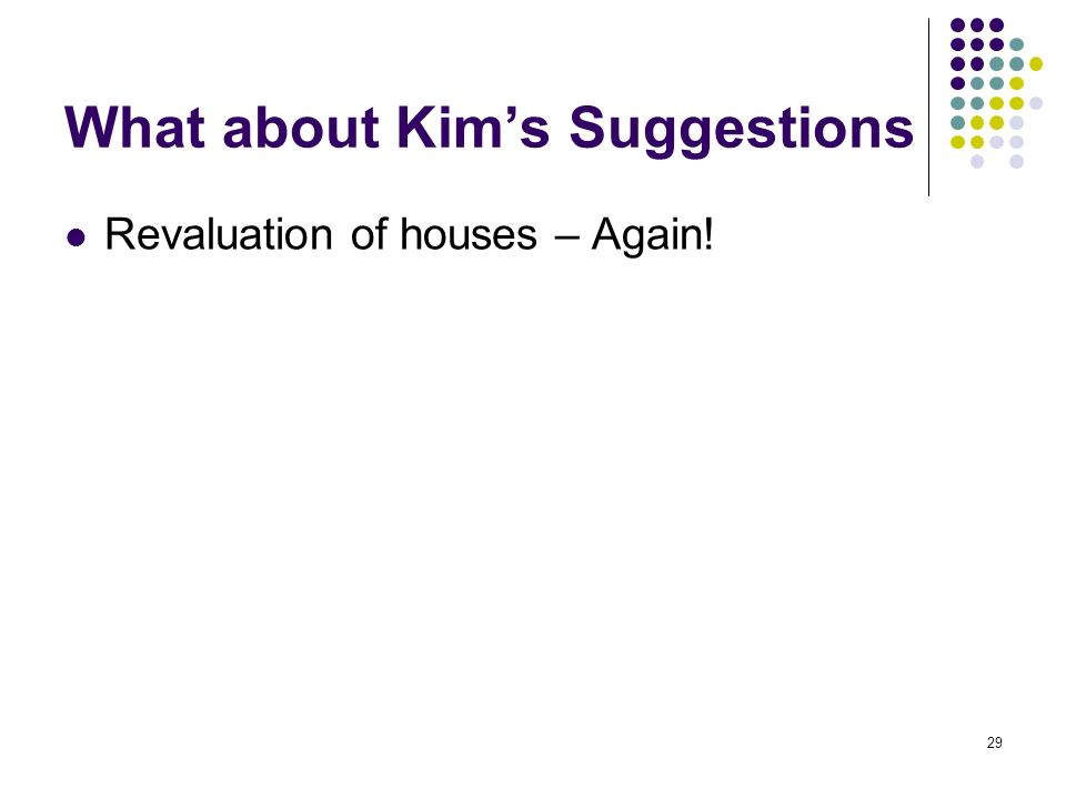 29 What about Kims Suggestions Revaluation of houses – Again!