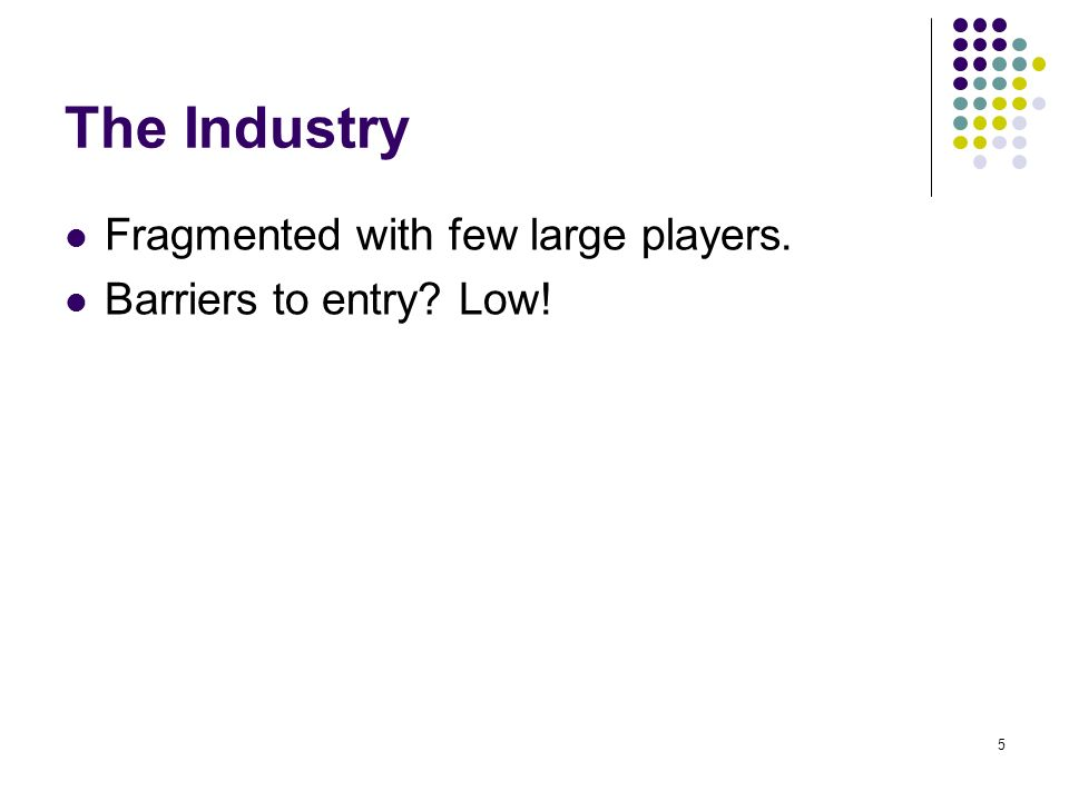 5 The Industry Fragmented with few large players. Barriers to entry Low!