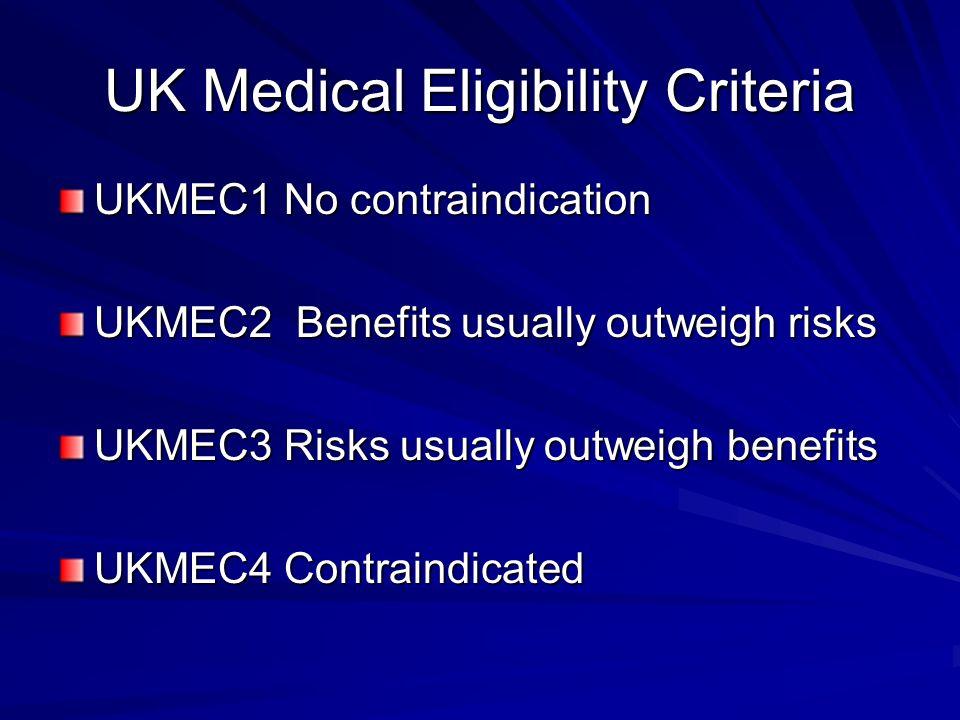 UK Medical Eligibility Criteria UKMEC1 No contraindication UKMEC2 Benefits usually outweigh risks UKMEC3 Risks usually outweigh benefits UKMEC4 Contra