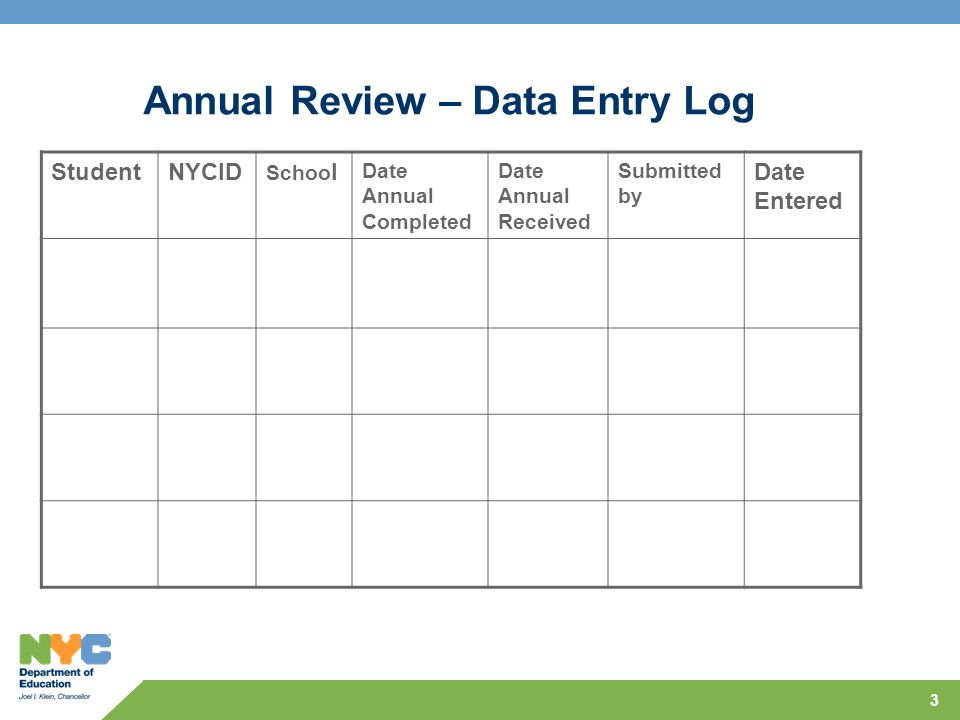 3 Annual Review – Data Entry Log StudentNYCID Schoo l Date Annual Completed Date Annual Received Submitted by Date Entered