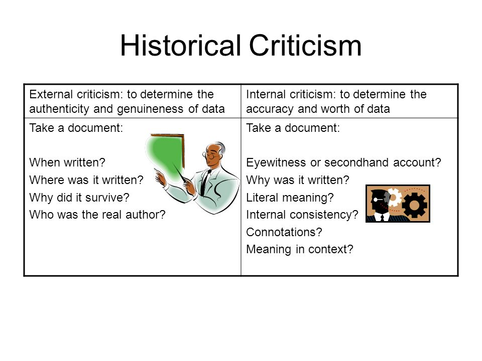 Historical Criticism External criticism: to determine the authenticity and genuineness of data Internal criticism: to determine the accuracy and worth