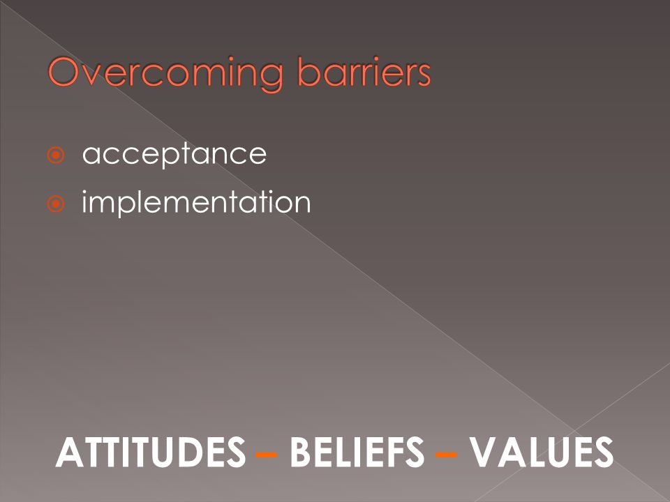 acceptance implementation ATTITUDES – BELIEFS – VALUES