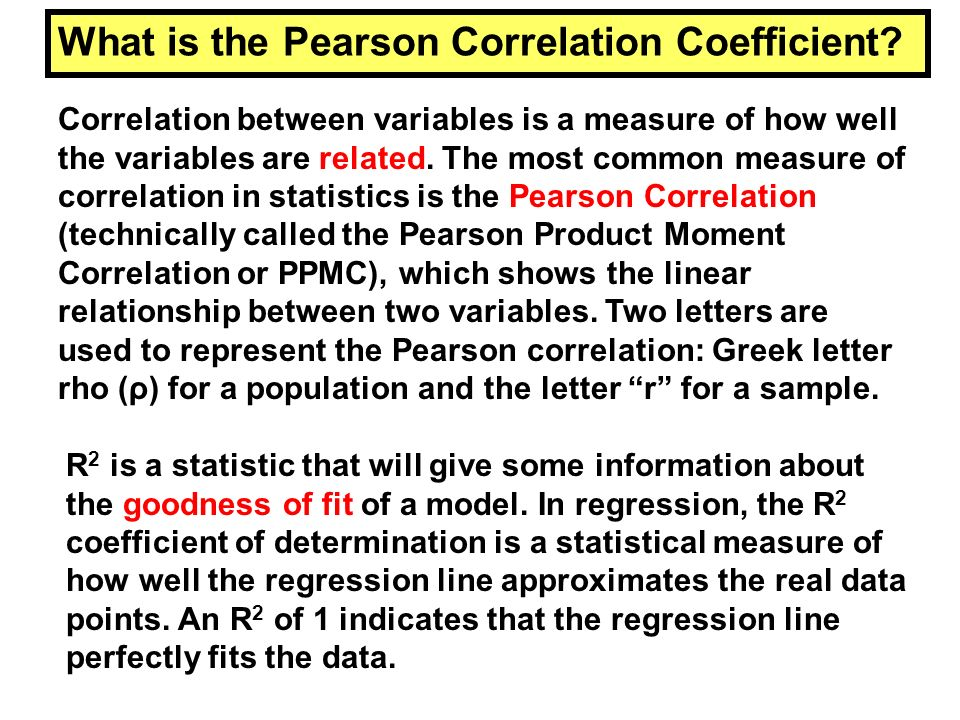 What is the Pearson Correlation Coefficient? Correlation between variables is a measure of how well the variables are related. The most common measure