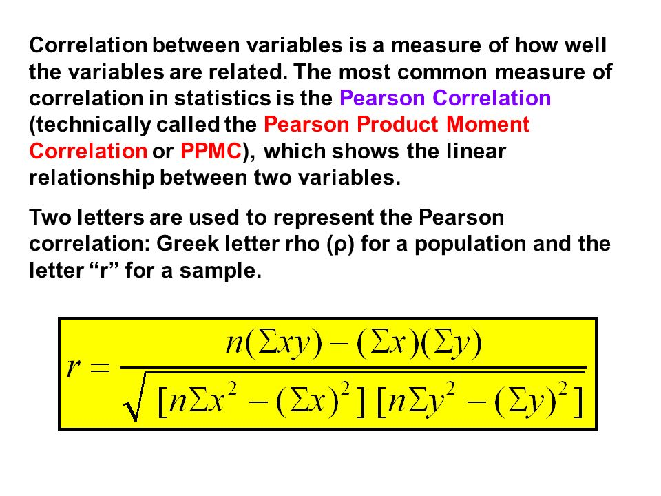 Correlation between variables is a measure of how well the variables are related. The most common measure of correlation in statistics is the Pearson