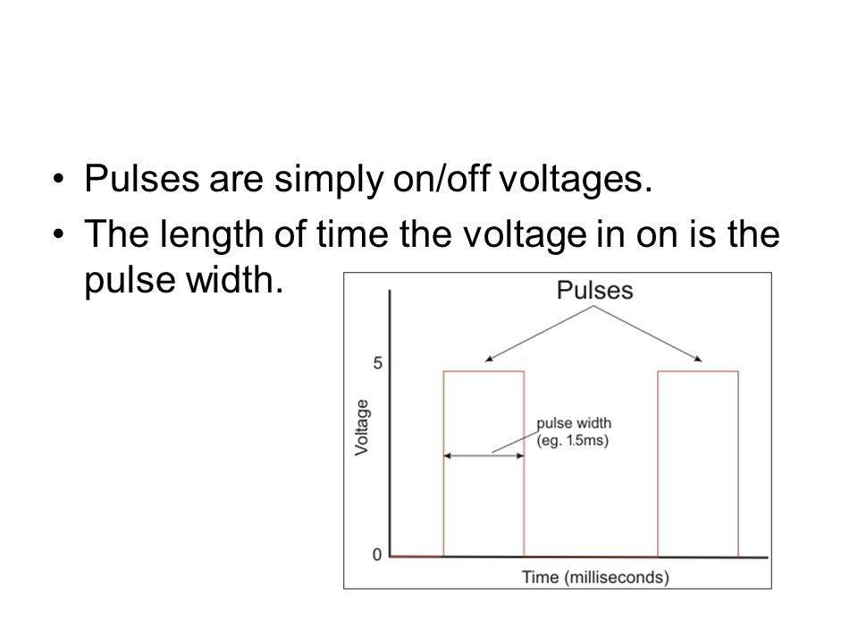 Pulses are simply on/off voltages. The length of time the voltage in on is the pulse width.