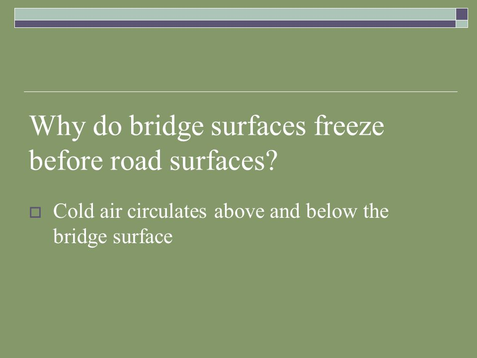 Why do bridge surfaces freeze before road surfaces? Cold air circulates above and below the bridge surface