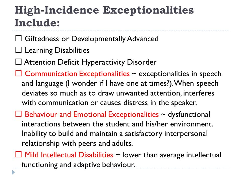 Communication Exceptionalities Generally a disorder in speech (articulation voice and frequency) and disorders of language (expressive or receptive) Language delay ~ 6 months behind milestones for young students Receptive language ~ failure to understand oral instructions Expressive language ~ cannot be understood refusal to speak in front of class Aphasia ~ cannot understand speech or produce meaningful sentences Apraxia ~ lacks muscle movement sequencing Articulation ~ cannot produce certain sounds Dysfleuncy ~ stuttering Voice disorders ~ does not speak with normal pitch loudness duration Orofacial defects ~ cleft palate is perhaps most common Dysarthria ~ paralysis of speaking muscles