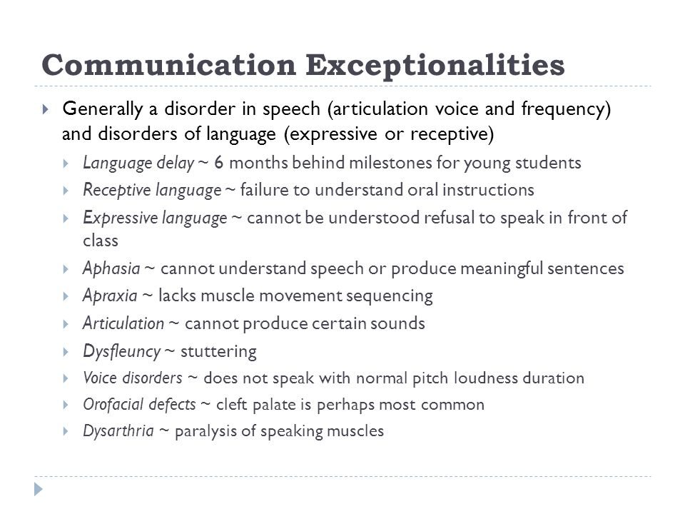 Communication Exceptionalities Accepting and inclusive environment ~ model behaviour Respond to what the students say rather than how they say it.