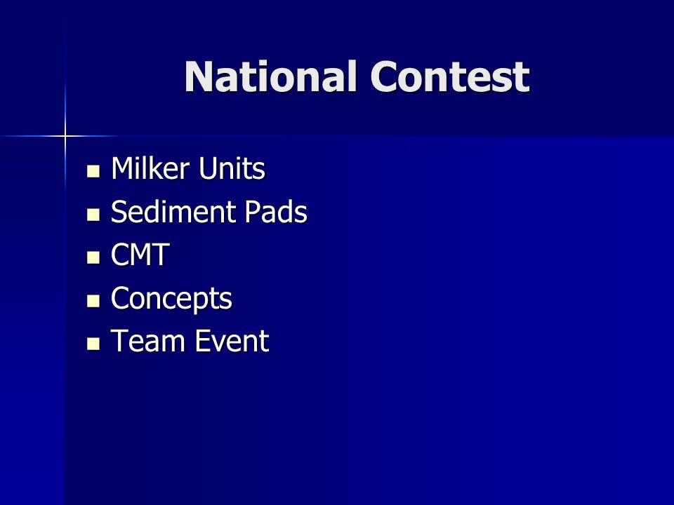 National Contest Milker Units Milker Units Sediment Pads Sediment Pads CMT CMT Concepts Concepts Team Event Team Event