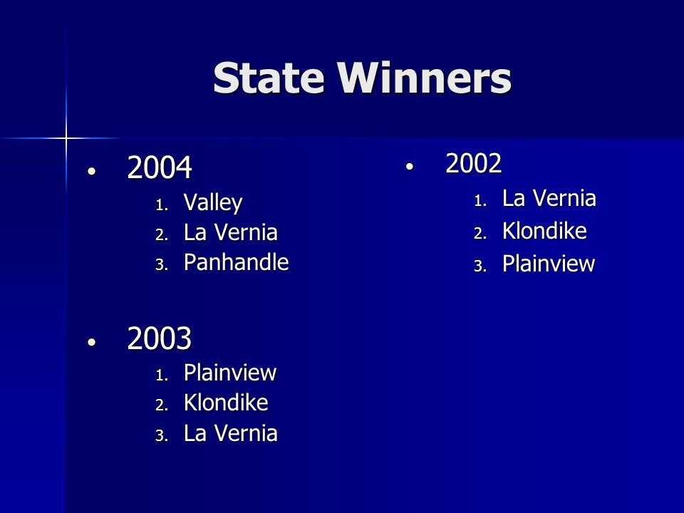 State Winners 2004 2004 1. Valley 2. La Vernia 3.