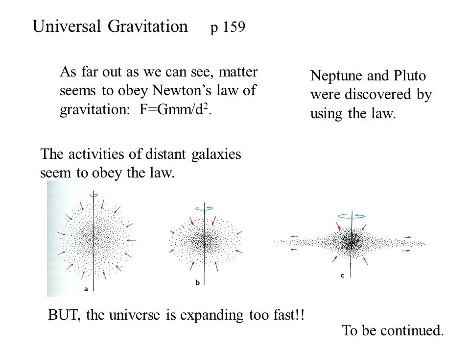 Universal Gravitation p 159 As far out as we can see, matter seems to obey Newtons law of gravitation: F=Gmm/d 2. Neptune and Pluto were discovered by