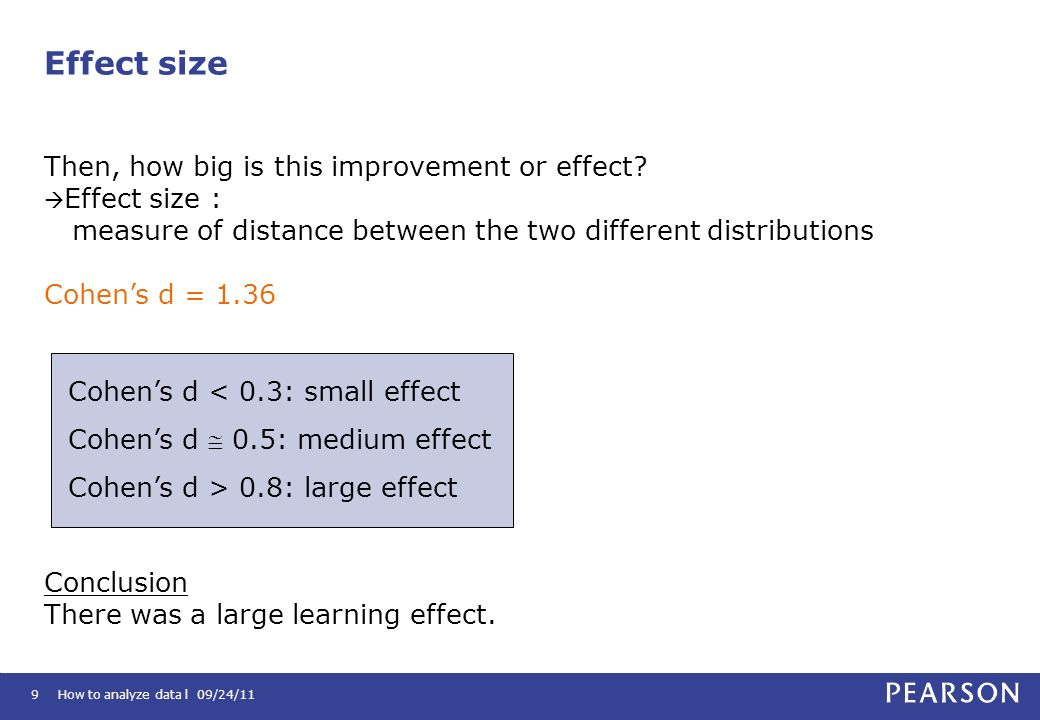 How to analyze data l 09/24/119 Then, how big is this improvement or effect? Effect size : measure of distance between the two different distributions