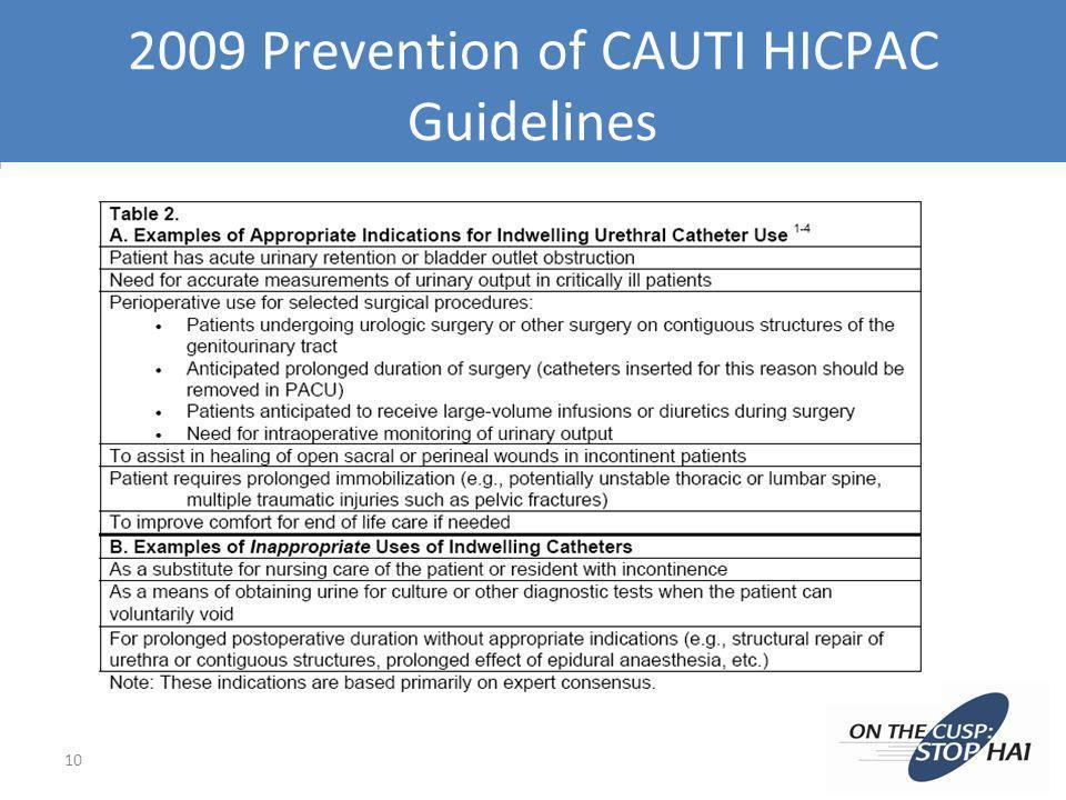 2009 Prevention of CAUTI HICPAC Guidelines 10