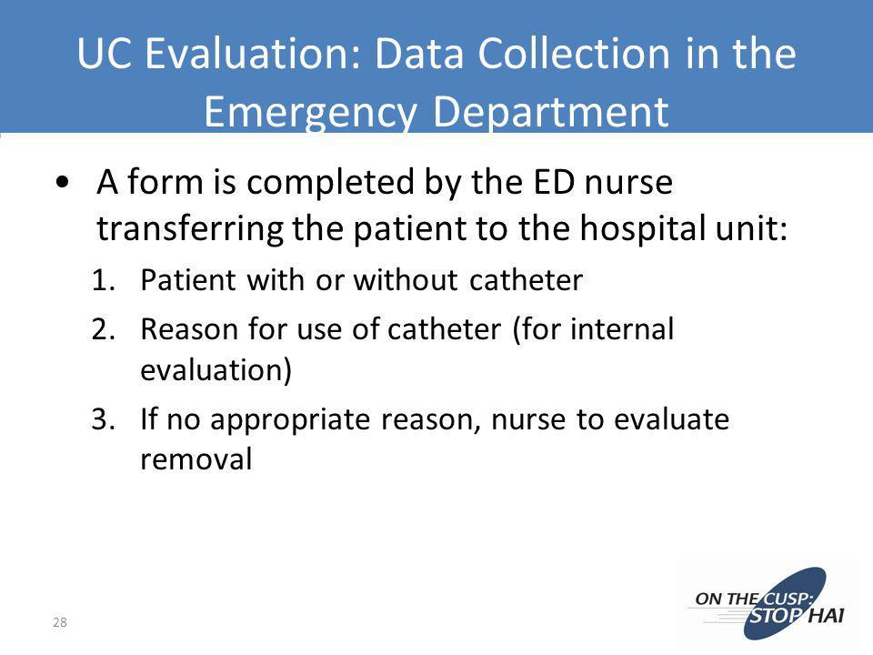 UC Evaluation: Data Collection in the Emergency Department A form is completed by the ED nurse transferring the patient to the hospital unit: 1.Patien
