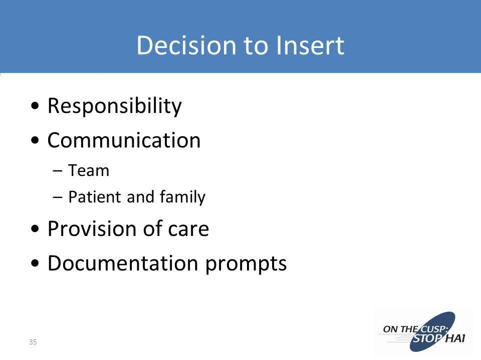 Decision to Insert Responsibility Communication –Team –Patient and family Provision of care Documentation prompts 35