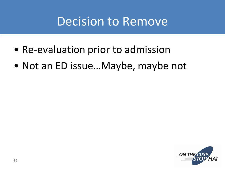 Decision to Remove Re-evaluation prior to admission Not an ED issue…Maybe, maybe not 39