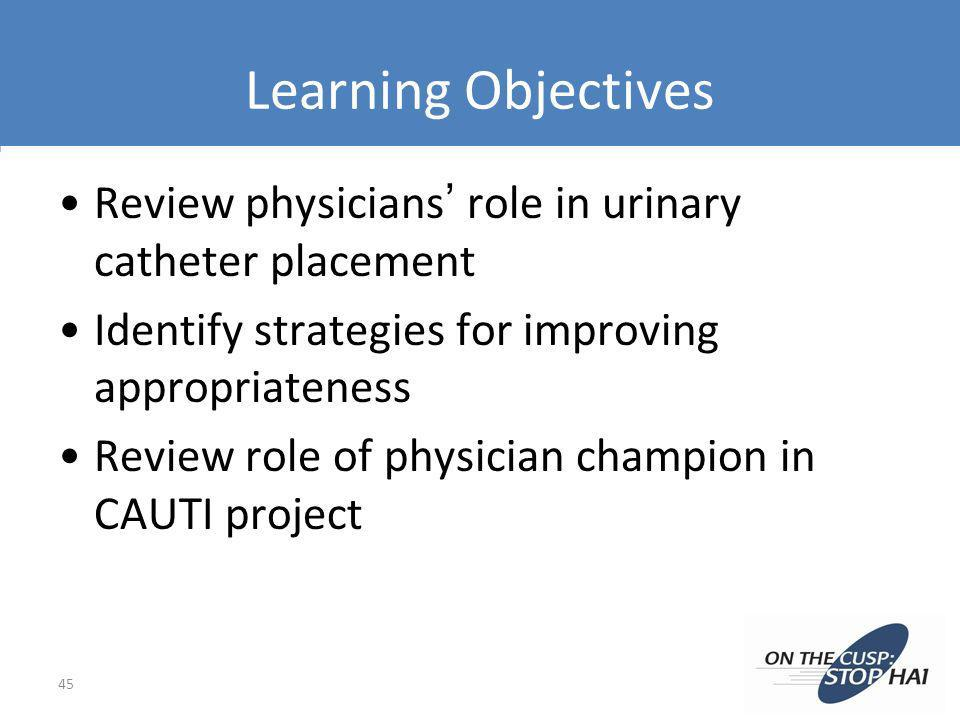 Learning Objectives Review physicians role in urinary catheter placement Identify strategies for improving appropriateness Review role of physician ch
