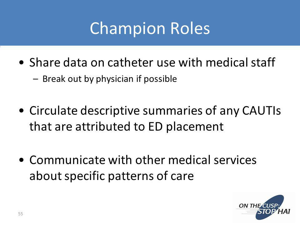 Champion Roles Share data on catheter use with medical staff –Break out by physician if possible Circulate descriptive summaries of any CAUTIs that ar