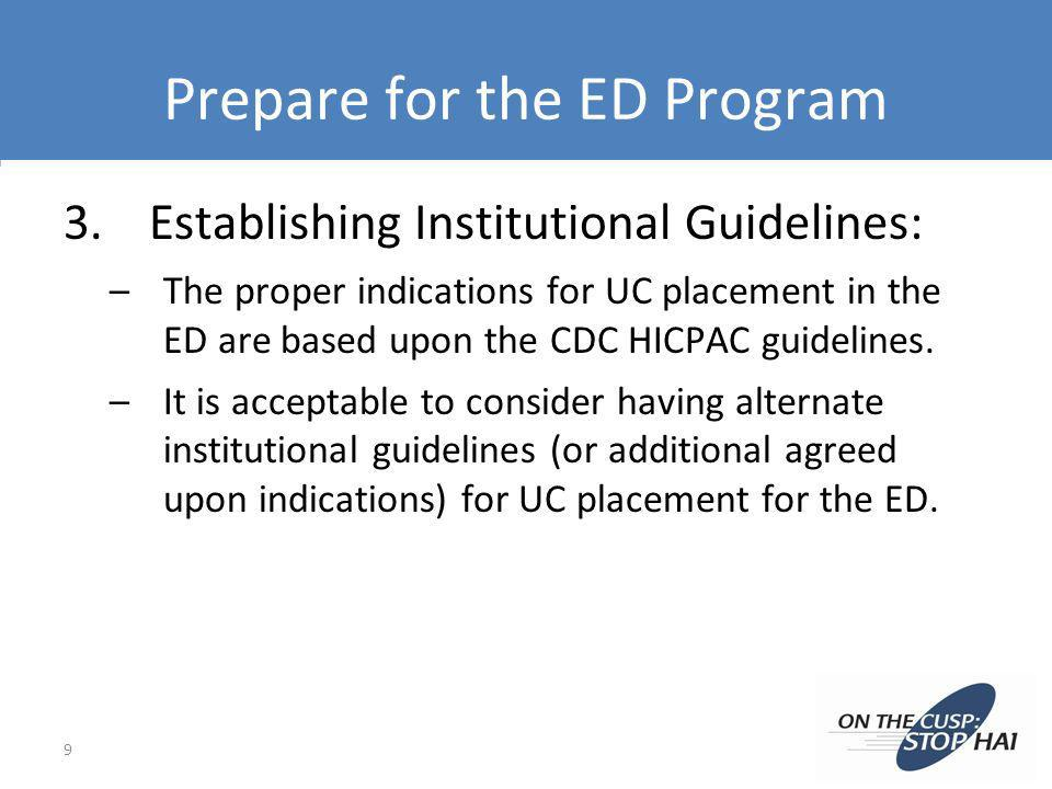 Prepare for the ED Program 3.Establishing Institutional Guidelines: –The proper indications for UC placement in the ED are based upon the CDC HICPAC g