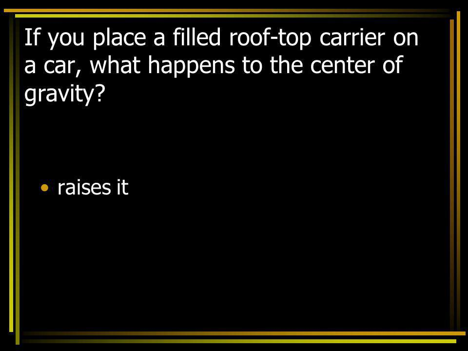 If you place a filled roof-top carrier on a car, what happens to the center of gravity? raises it