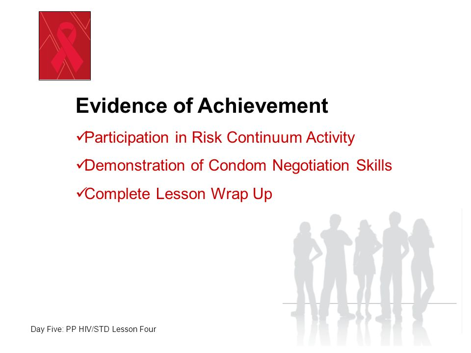 Day Five: PP HIV/STD Lesson Four Evidence of Achievement Participation in Risk Continuum Activity Demonstration of Condom Negotiation Skills Complete