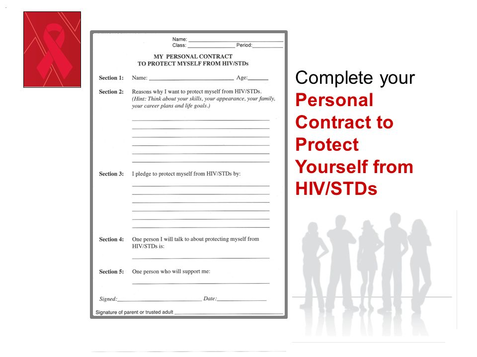 . Complete your Personal Contract to Protect Yourself from HIV/STDs