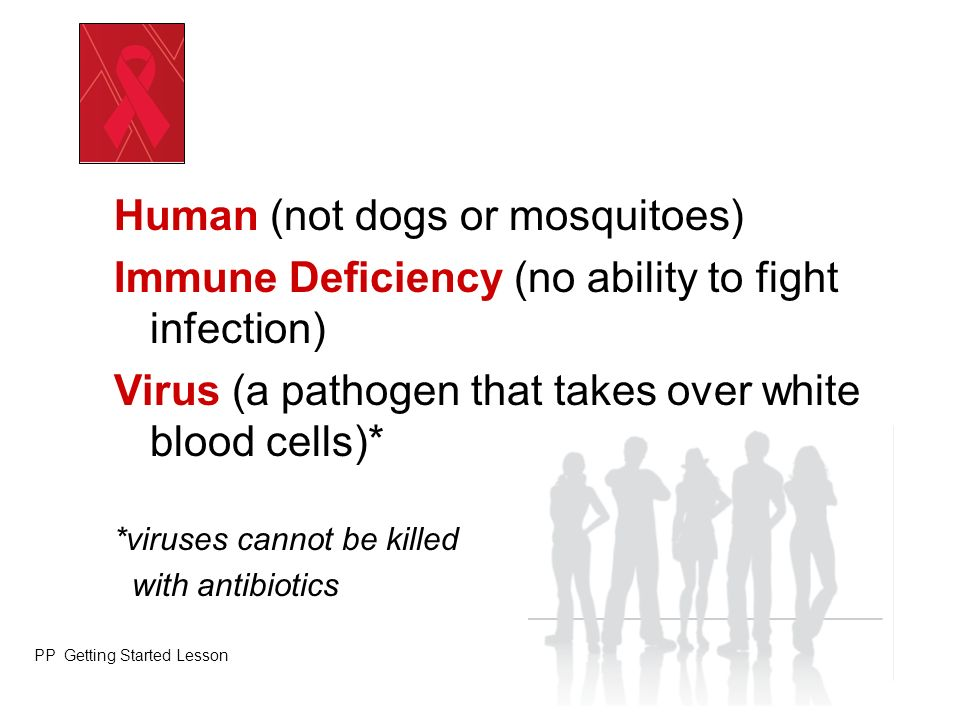 Human (not dogs or mosquitoes) Immune Deficiency (no ability to fight infection) Virus (a pathogen that takes over white blood cells)* *viruses cannot