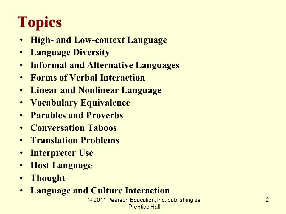 © 2011 Pearson Education, Inc. publishing as Prentice Hall 2 Topics High- and Low-context Language Language Diversity Informal and Alternative Languag