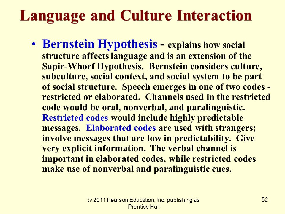 © 2011 Pearson Education, Inc. publishing as Prentice Hall 52 Bernstein Hypothesis - explains how social structure affects language and is an extensio