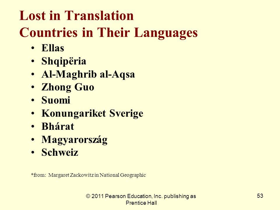 © 2011 Pearson Education, Inc. publishing as Prentice Hall 53 Lost in Translation Countries in Their Languages Ellas Shqipëria Al-Maghrib al-Aqsa Zhon