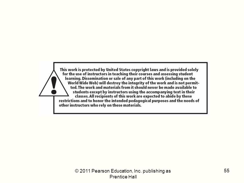 © 2011 Pearson Education, Inc. publishing as Prentice Hall 55