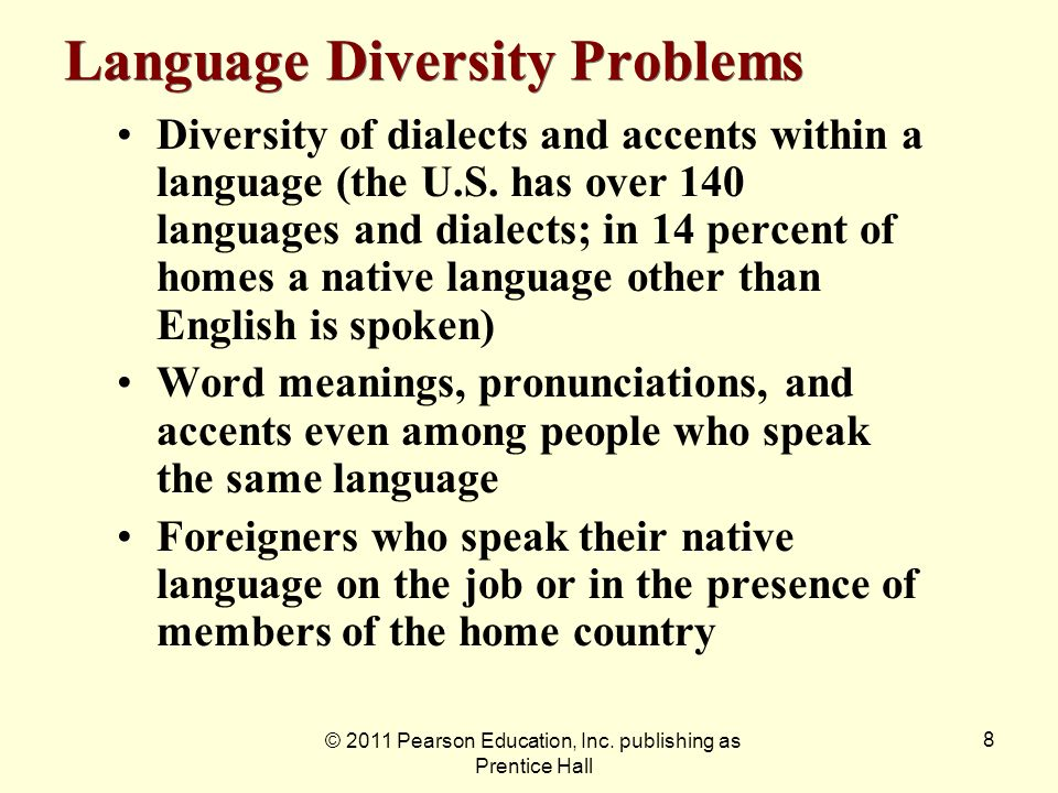 © 2011 Pearson Education, Inc. publishing as Prentice Hall 8 Language Diversity Problems Diversity of dialects and accents within a language (the U.S.