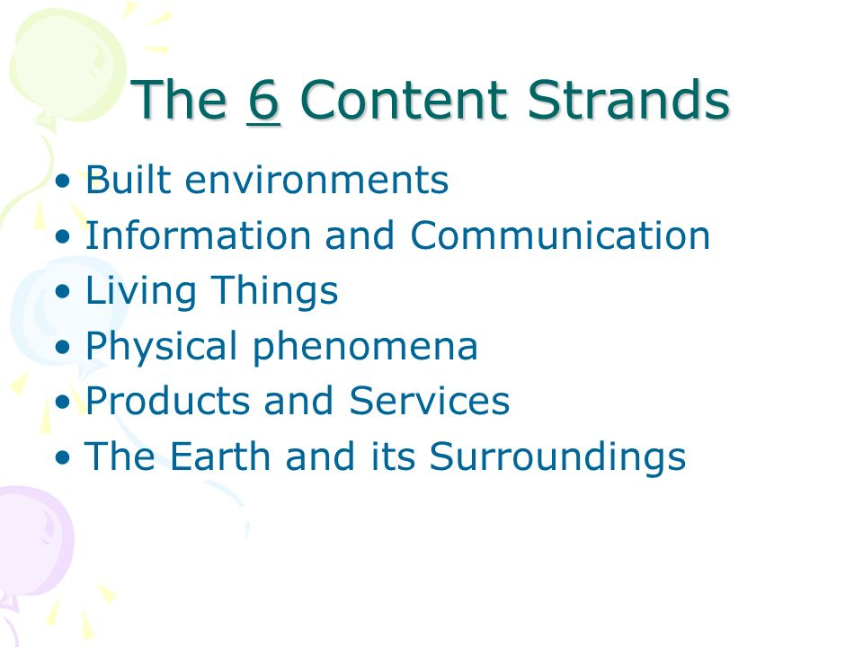 The 6 Content Strands Built environments Information and Communication Living Things Physical phenomena Products and Services The Earth and its Surrou