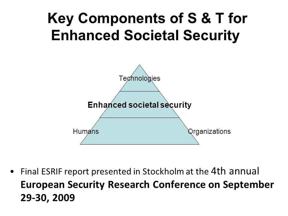Key Components of S & T for Enhanced Societal Security Final ESRIF report presented in Stockholm at the 4th annual European Security Research Conference on September 29-30, 2009 Technologies Enhanced societal security Humans Organizations
