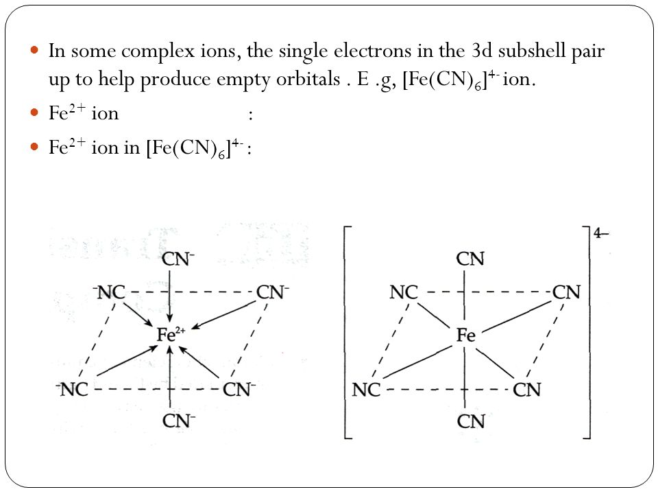 In some complex ions, the single electrons in the 3d subshell pair up to help produce empty orbitals. E.g, [Fe(CN) 6 ] 4- ion. Fe 2+ ion : Fe 2+ ion i
