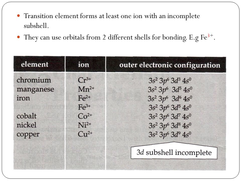 Transition element forms at least one ion with an incomplete subshell. They can use orbitals from 2 different shells for bonding. E.g Fe 3+.