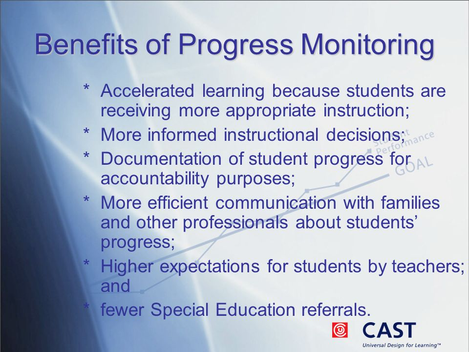 Benefits of Progress Monitoring *Accelerated learning because students are receiving more appropriate instruction; *More informed instructional decisions; *Documentation of student progress for accountability purposes; *More efficient communication with families and other professionals about students progress; *Higher expectations for students by teachers; and *fewer Special Education referrals.