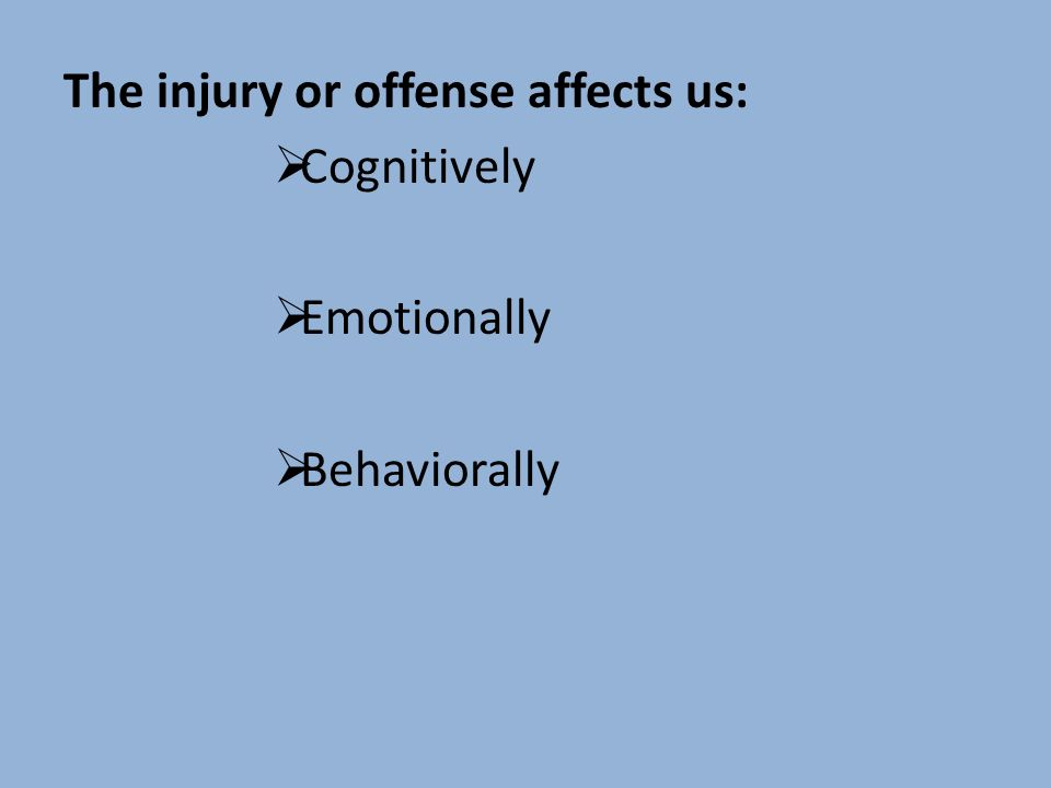 The injury or offense affects us: Cognitively Emotionally Behaviorally